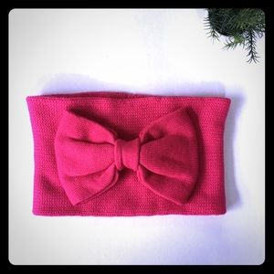 NEW Kate Spade pink gathered bow neck warmer